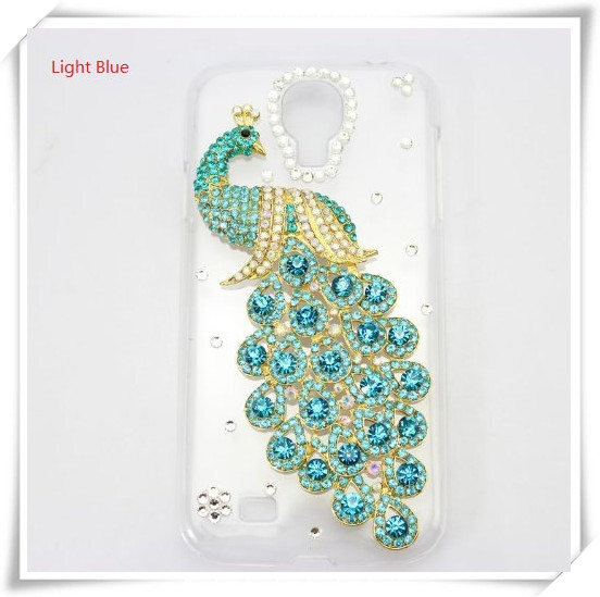 Handmade phone case For Samsung Galaxy S4 i9500 Bling 3D Clear Case Light Blue peacock diamond crystal hard back cover