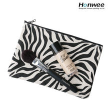 Zebra-stripe cheap promotional wholesale makeup cotton canvas cosmetic bag