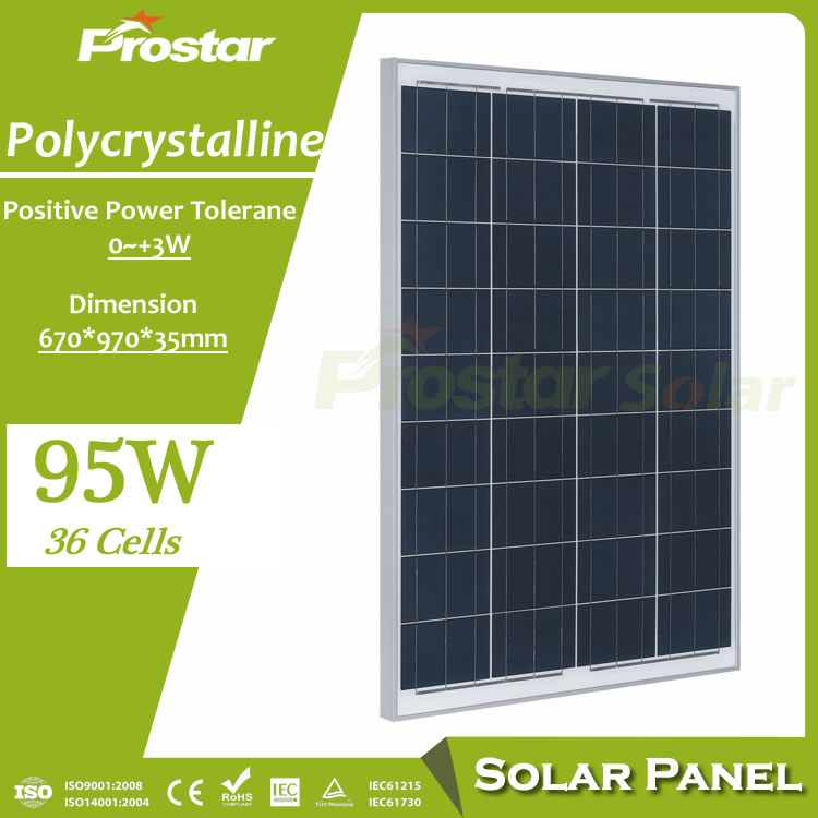 Prostar 95w solar panel polycrystalline photovoltaic module 12v for solar electric power