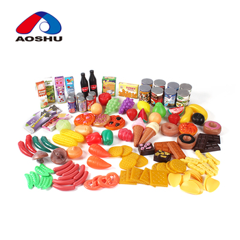 Wholesale colorful 120PCS kids playing toys canned play food set with safety plastic