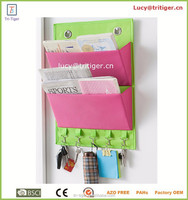 2 pockets 5 hooks over door hanging magazine scarf hat key storage organizer