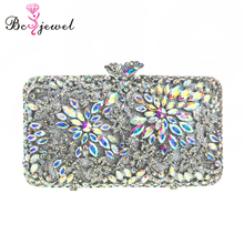 New Wholesale Indian Wedding Purse for Women Bridal Metal Flower Rhinestones Crystal Clutch bags in Silver WZB-053