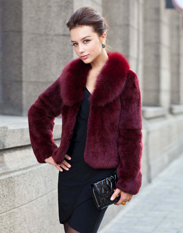 Janefur Lady's Fashion Rabbit Fur Coat With Fox Fur Collar /Fashion Style