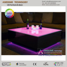 led light lounge decor furniture black cube table (TA600 & 800)