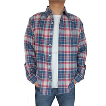 mens 100% cotton wholesale flannel long sleeve shirt