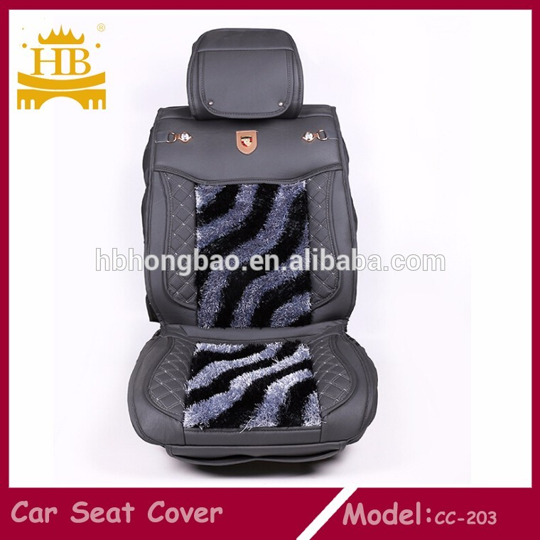 2017 Heated Leather with Fur Car Seat Cover for Winter