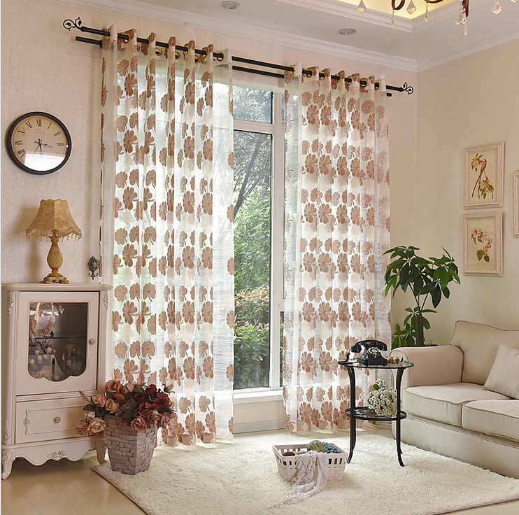 Chinese Factory Cheap Leaf Voile Curtain