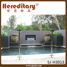 Exterior mini frameless glass pool use stainless steel fence post