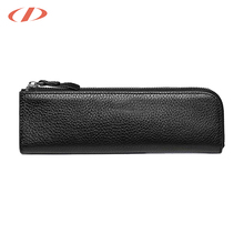 OEM logo printed pen box black vintage pencil case leather zipped
