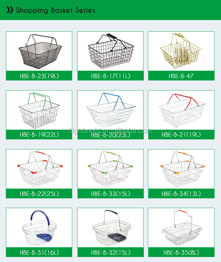 Supermarket metal grocery store wire mesh shopping basket with handles