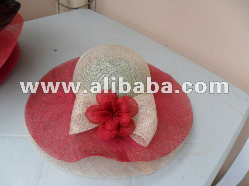 Red Color Sinamay Hats