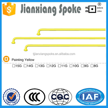 Bicycle spare part best quality painting yellow spoke and nipple for sale