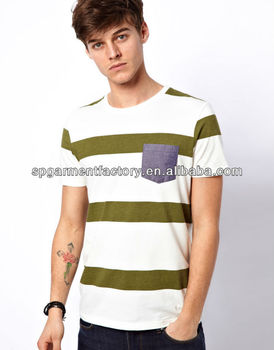 contrast chest pocket stripe tee shirt