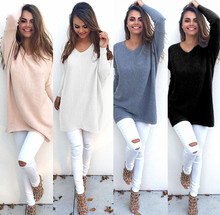 B30886A Europea leisure loose women's knit tops lady sweater with high quality