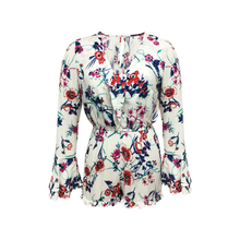 New Fashion Women 100% Rayon Elegant Every Day Casual Wear Long Flounced Sleeve Off White Flower Print Short Romper Jumpsuit