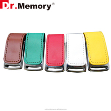 Dr.memory 2016 logo embossed black leather case usb flash drive 2.0 16GB key chain