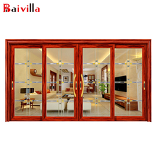 Hot Sale Classical Mkuruti Aluminum Alloy Frame Crafts Tempered Glass Door And Entry Sliding Door For Villa Used