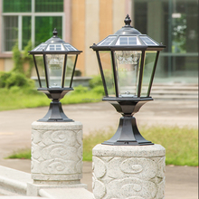 Solar powered garden led lights or solar pillar gate light