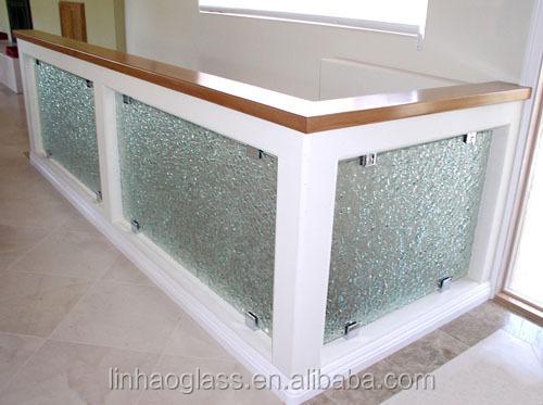 Customized Frameless Art Glass Railing Fused Glass Stair
