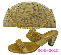 BCH01-GOLD Pretty ladies wedding shoes and bag to match