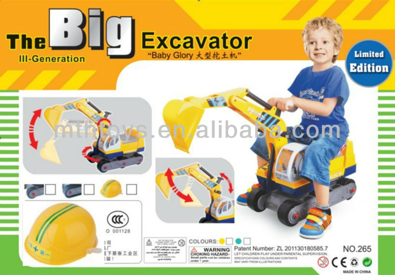 big digger toys with helmet for children playing ride on toys