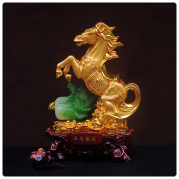 24k golden color horse statue , chinese zodiac statue