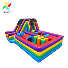 inflatable obstacle course with slide / commercial use inflatable bouncer with slide for sale