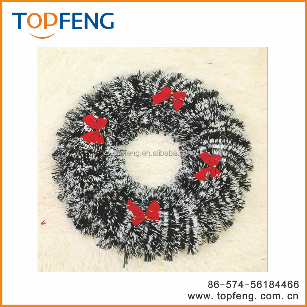 New design christmas wired tinsel garland with bow