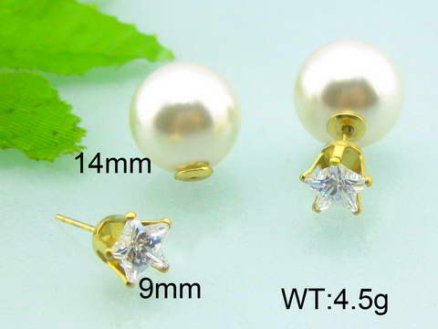 Imitation Pearl Clear Crystal Star Earrings Jewelry Fashion Bridal Earrings Double Sided Earrings
