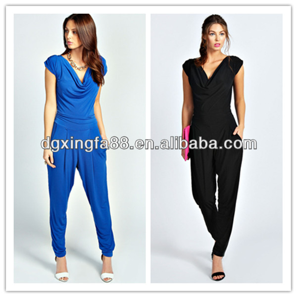New Style Summer Fashion Cowl Front Tapered Leg One Piece Jumpsuit