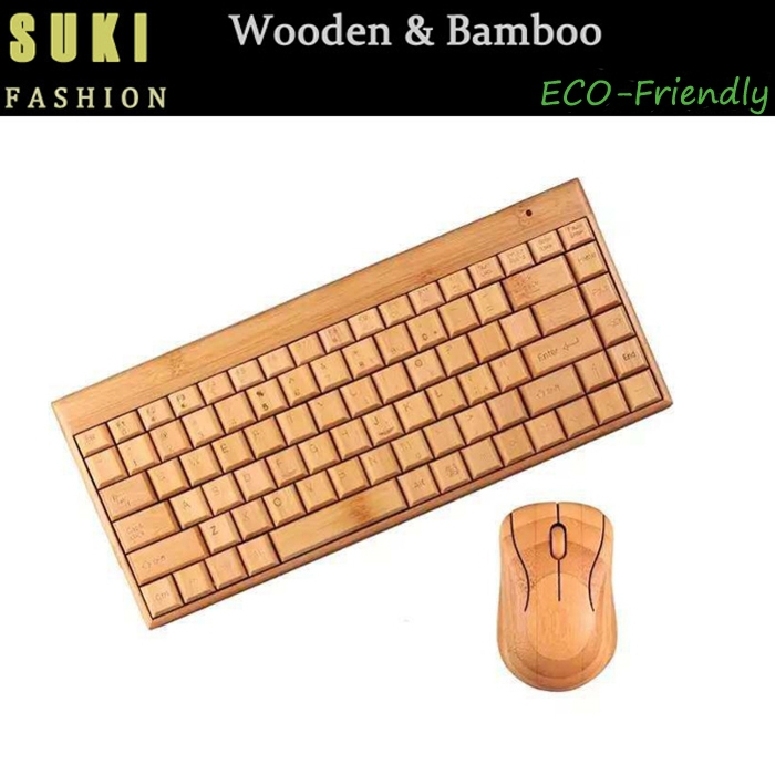 2015 Hot Sell Bamboo Wood Mechanical Keyboard USB Wireless Bluetooth Keyboard