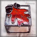 MX160030 stained glass jewelry box with maple leave on top wholesale gift set or promotional gifts