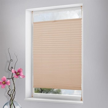 Dustproof Brown Color Cordless Window Pleated Plissee Curtains Blinds