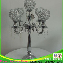 5 arms silver crystal candelabras centerpiece candle holder