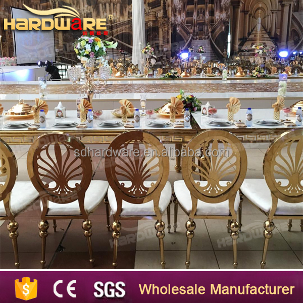luxury event gold stainless steel wedding banquet chair round back