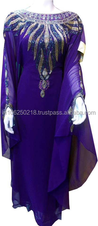 Purple Embroidery Elegant Fancy New Model Dubai Morrocan Arabic Kaftan Farasha Abaya designer islamic long muslim dress k6821