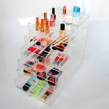 2017 Newest Clear Makeup Storage Drawers, Large 5 Drawers Transparent Acrylic Cosmetic Makeup Organizer With Diamond Handle