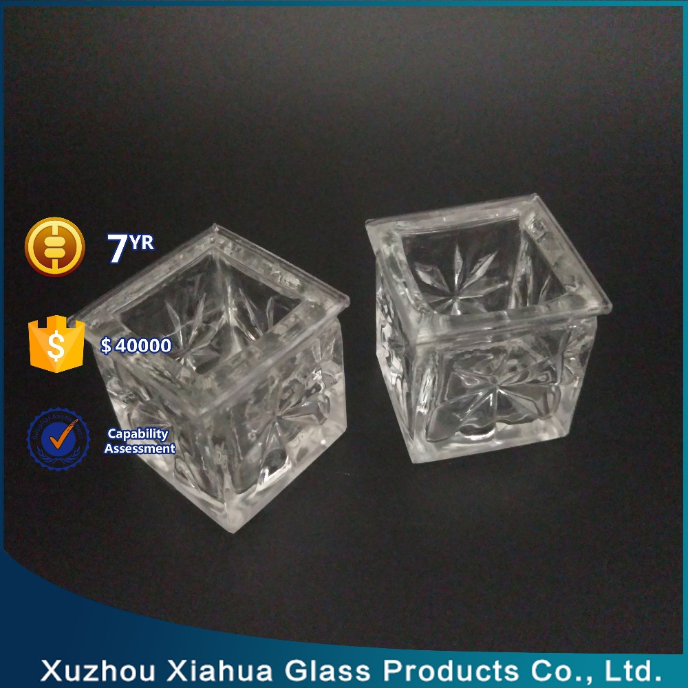 25ml square small clear glass candle holder