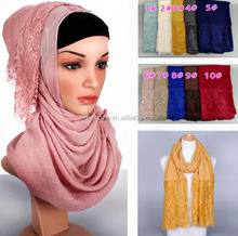 Wholesale cotton lace muslim hijab, islamic shawls muslim scarves/scarf GBS183