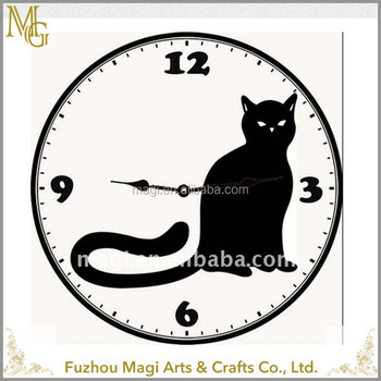 Customized Round Decorative Metal Black Cat Clock