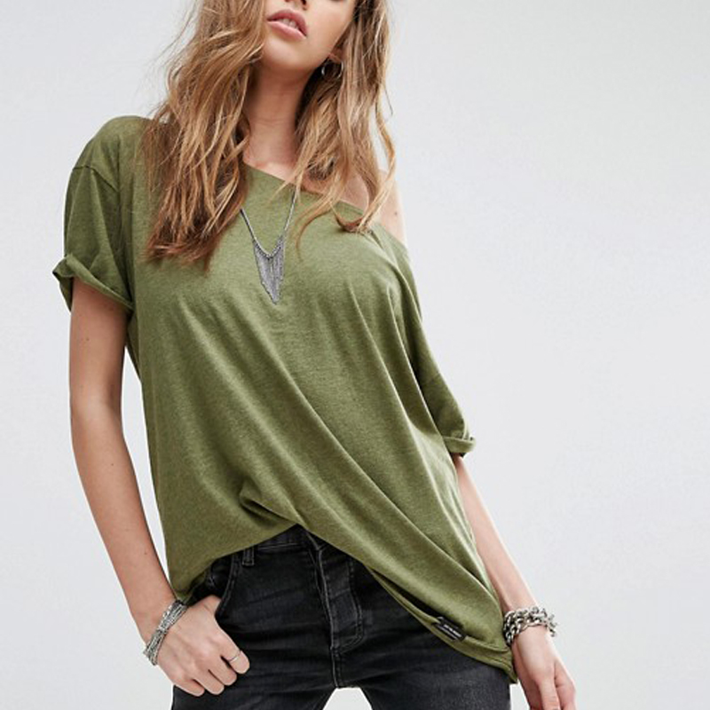 Feminine Wear Loose Fit Lightweight Jersey Casual Raw Loyanza Simple Jersey T-Shirt Oliver Green