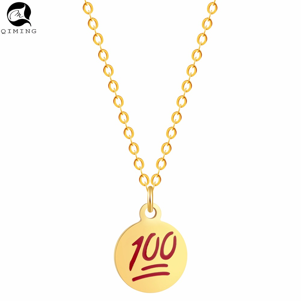 Full Mark <strong>100</strong> Points Student Necklace Stainless Steel Jewelry Accessories Women Gold Silver Necklace Party Gift