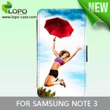 New type DIY sublimation flip leather case for Samsung Note 3 with printable fabric