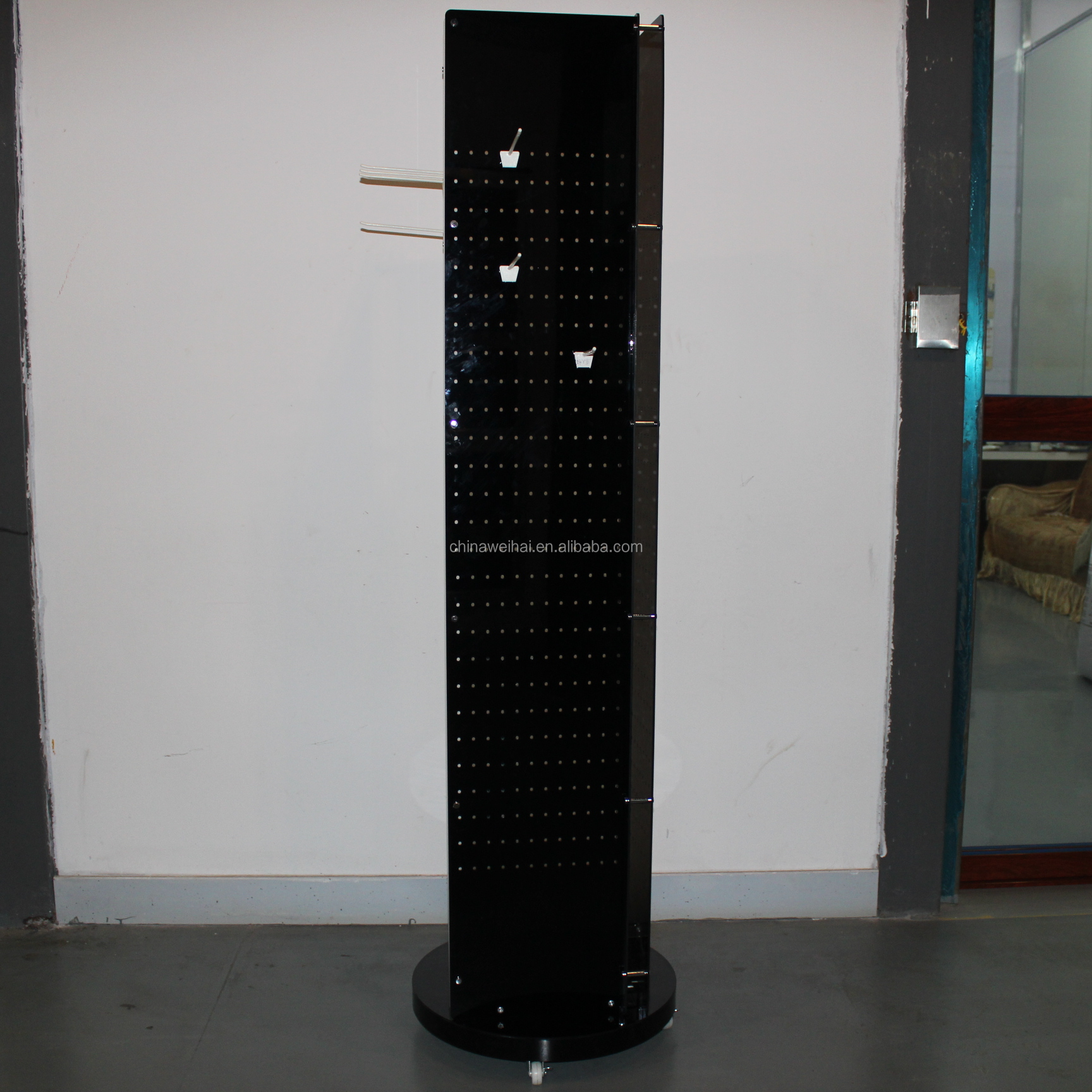 Black 4Sides  Acrylic Floor Panels With Hooks For Jewelry Display