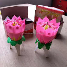Cheap wholesale lotus birthday music candle