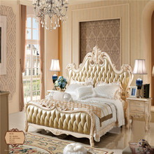 Solid Wood Furniture Luxury Double Bed Design