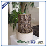 Wood finish water fountain home decor column base LED fountain outdoor