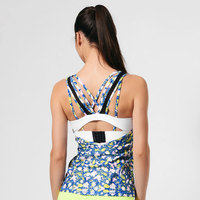 GAEANER factory little flowers blue racerback tringer gym dri-fit tank top