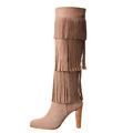 Latest Women Brown Leather With Tassel Knee High Heels Boots