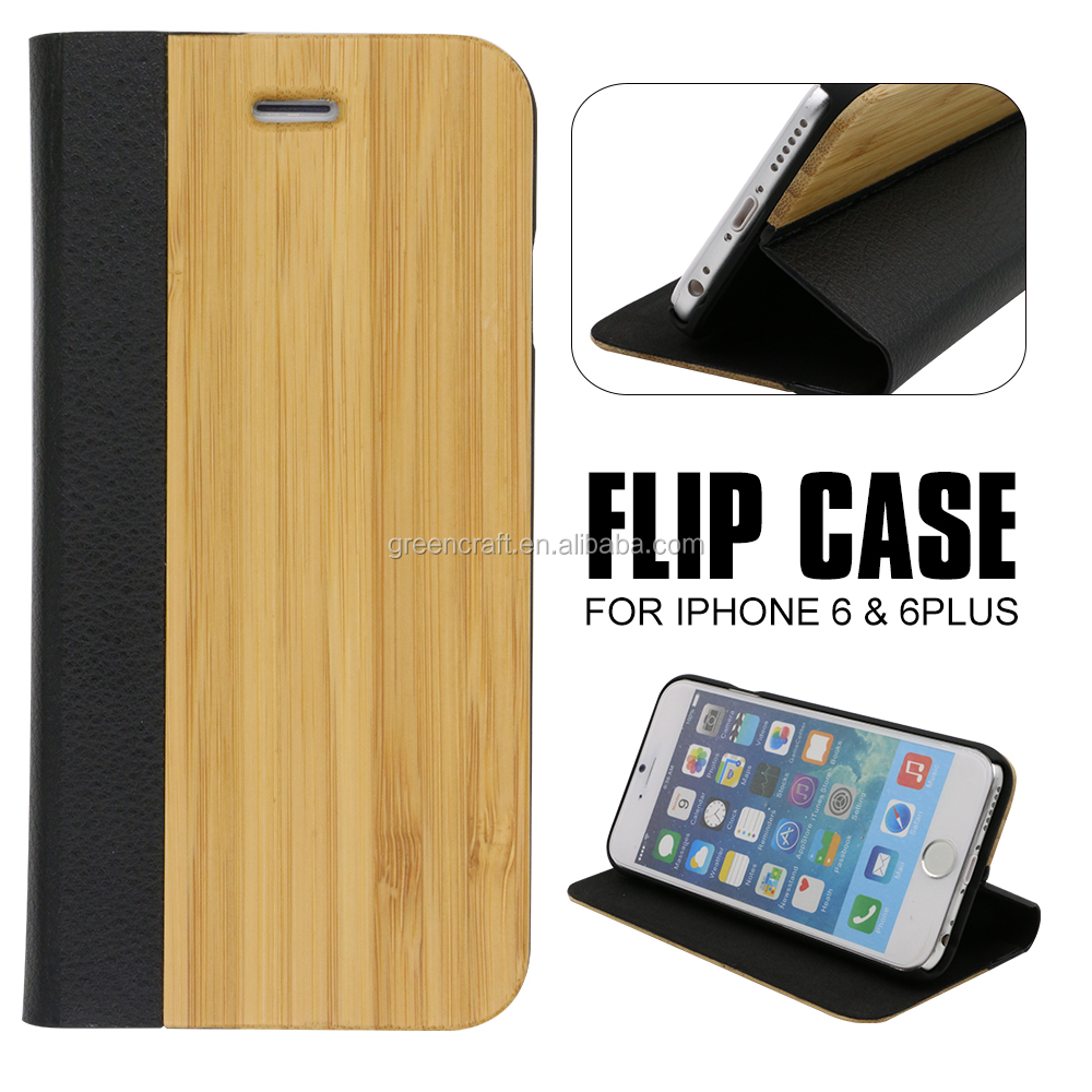 Wooden Engraving Cell Phone Case For iphone 6 Flip Case Leather